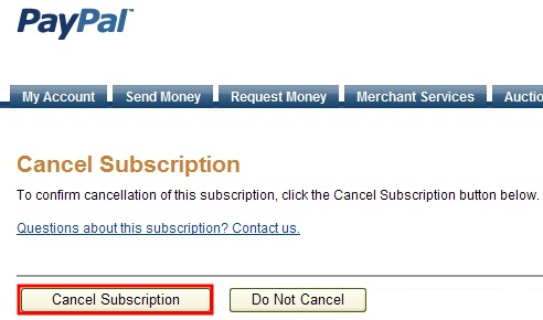 Cancel subscription button